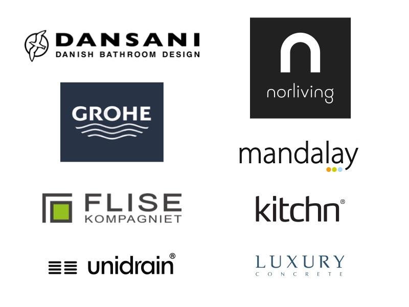 Brands i Village Vejle norliving, Dansani, GROHE, Mandalay, Flisekompagniet, kitchn, unidrain og Luxury Concrete